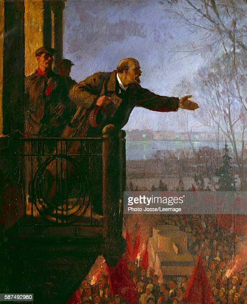 The Russian revolutionary and politician Lenin on the balcony of the Kschessinska Mansion in the night In this speech he spells out his 'April...