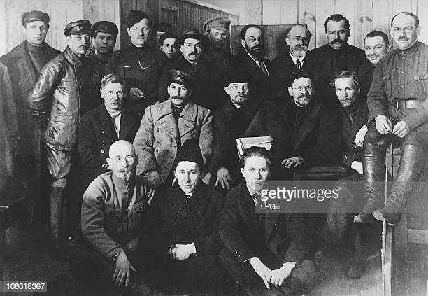 Russian revolutionaries and leaders Joseph Stalin Vladimir Ilyich Lenin and Mikhail Ivanovich Kalinin at the 8th Congress of the Russian Communist...