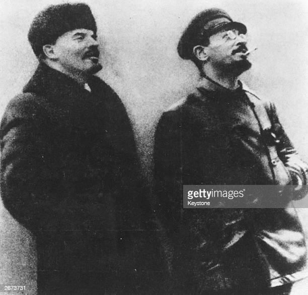 Russian revolutionaries Vladimir Ilyich Lenin and Leon Trotsky alias Lev Davidovich Bronstein during the Bolshevik Revolution