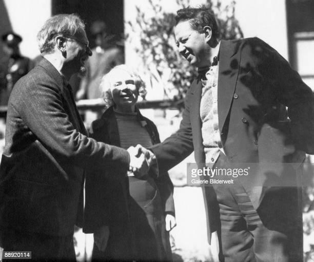Russian revolutionary Leon Trotsky and his wife Natalia Sedova meet artist Diego Rivera in Mexico City 9th January 1937