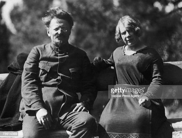 Russian revolutionary Leon Trotsky with his second wife Natalia Sedova at Sukhumi on the Black Sea 1924 Sukhumi is famous for its spas and...