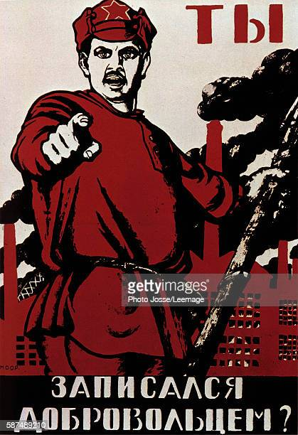 Russian Revolutionary Posters of 1918 calling Russians against the generals of the white army which brought together opponents to communists after...