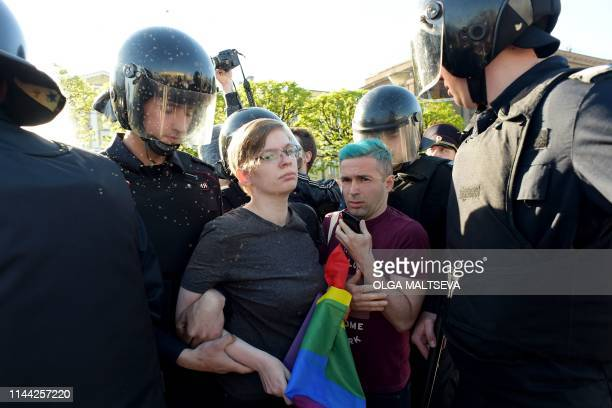 Russian riot police detained gay rights activist during World Day Against Homophobia and Transophobia in Saint Petersburg on May 17 2019 About ten...