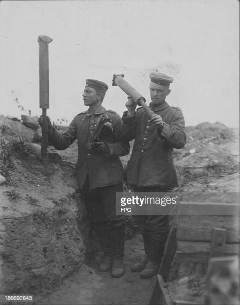 Russian rockets used for sending messages found by German soldier during World War One circa 19141919