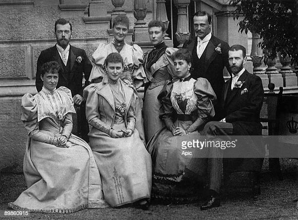 Russian royal family in 1894 in Darmstadt lr standing czar Nicolas II his wife Alexandra princesse Victoria of Battenberg and prince Ernst Ludwig of...