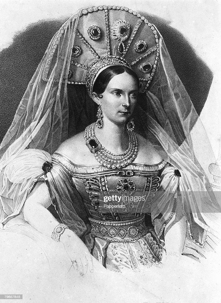 Russian Royalty, pic: circa 1830's, Empress Alexandra Feodorovna, who lived 1798-1860, the wife of Tsar Nicholas I : News Photo