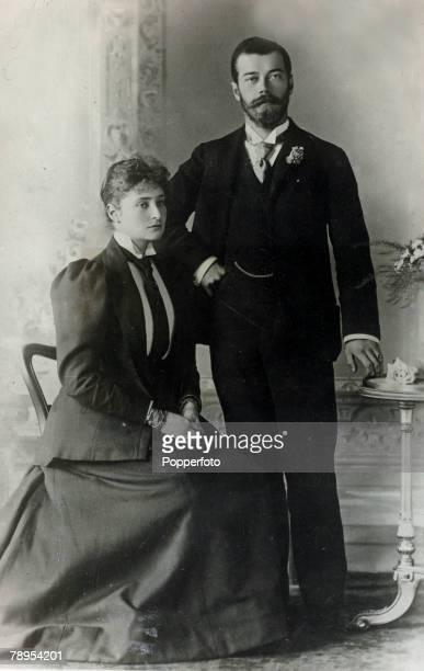 circa 1900 Tsar Nicholas II with his wife the Tsaritsa Alexandra