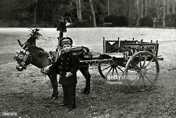 circa 1908 The Tsarevitch Alexei 19041918 the son of Tsar Nicholas II pictured with his Sicilian donkey cart presented to him by the King of Italy