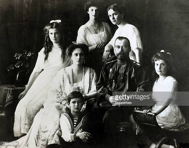 circa 1910 The Tsar of Russia the Tsarina and their 5 children Olga Tatiana Maria Anastasia and Alexis Nicolaievich