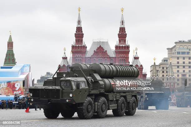Russian S400 Triumph mediumrange and longrange surfacetoair missile systems ride through Red Square during the Victory Day military parade in Moscow...