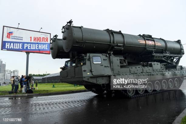 Russian S400b4 anti-aircraft rocket system roll past during the second night of rehearsals in preparation for the WWII Victory Parade in front of a...