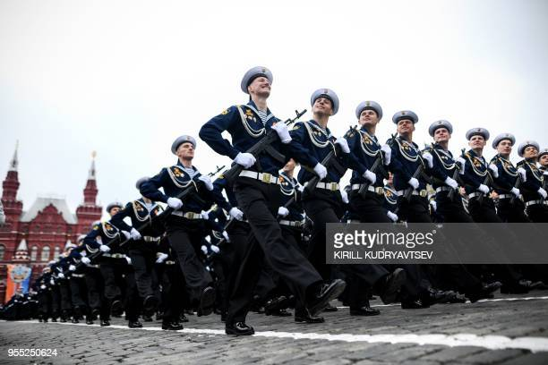 Russian sailors march at Red Square during the general rehearsal of the Victory Day military parade in Moscow on May 6, 2018. - Russia marks the 73rd...