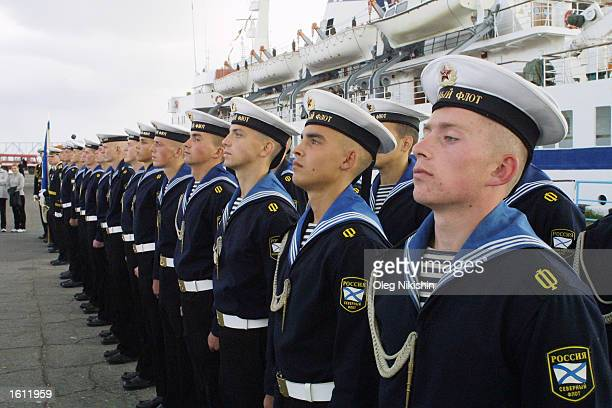 Russian sailors participate in a ceremony remembering British supply convoys during World War 2 August 31 2001 in Archangelsk Russia British World...
