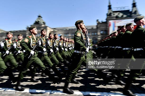 Russian servicemen march at Red Square during the Victory Day military parade in Moscow on May 9 2016 Russia marks the 71st anniversary of the Soviet...