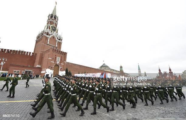 Russian servicemen march at Red Square during the Victory Day military parade in Moscow on May 9 2017 Russia marks the 72nd anniversary of the Soviet...
