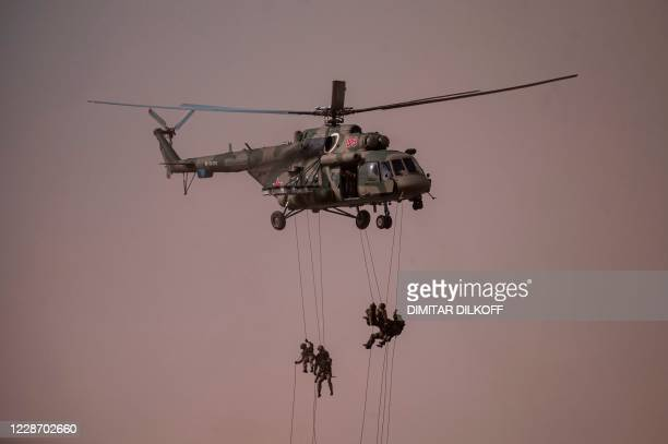 Russian servicemen take part in military exercises at the Kapustin Yar range in Astrakhan region, Southern Russia on September 25, 2020 during the...