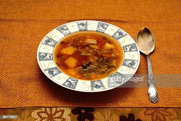 Russische shchi Fleisch soup bowl