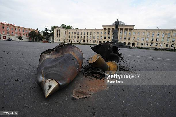 A Russian shell blast in Stalin square on August 12 2008 in Gori Georgia Russian President Dmitry Medvedev has ordered an end to the military...