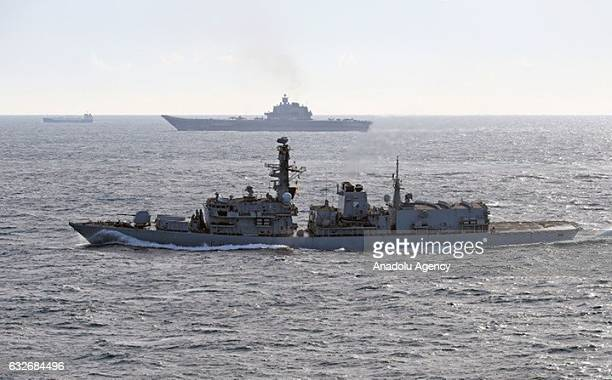 Russian ships are seen in English Channel in London United Kingdom on January 25 2017 Jets belonging to Royal Air Forces and warships belonging to...
