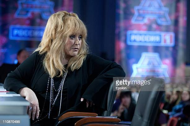 Russian singer Alla Pugacheva looks on during a casting session for 'the Factor A' a new musical television show on March 22 2011 in Moscow Russia