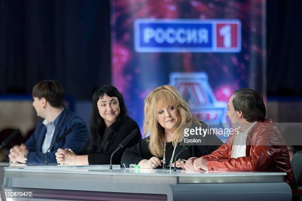 Russian singer Alla Pugacheva talks with a fellow judge during a casting session for 'the Factor A' a new musical television show on March 22 2011 in...