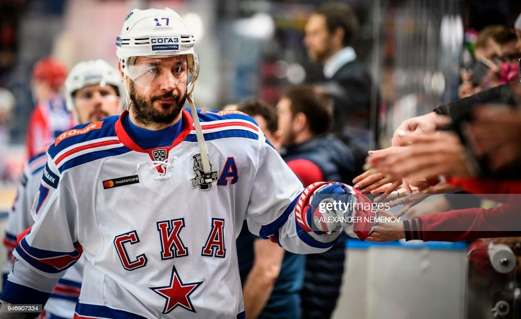Russian SKA St. Petersburg winger, Ilya Kovalchuk leaves the ice a after pre-game warm up on April 2, 2018 in Moscow. The former New Jersey Devils forward declared his intentions to return to the National Hockey League (NHL) after five seasons in Russia, as SKA St. Petersburg was eliminated from the Kontinental Hockey Leagues (KHL) playoffs. Ilya Kovalchuk reached his 35th birthday on April 15, which changed his status in the NHL and allowed him to negotiate and agree to terms with any NHL team as a free agent, local media reported. / AFP PHOTO / Alexander NEMENOV