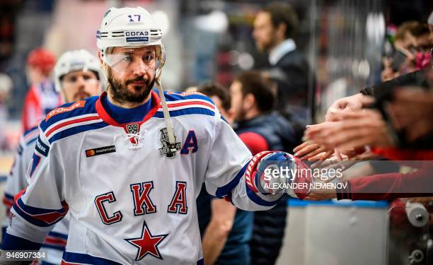 Russian SKA St. Petersburg winger, Ilya Kovalchuk leaves the ice a after pre-game warm up on April 2, 2018 in Moscow. The former New Jersey Devils...