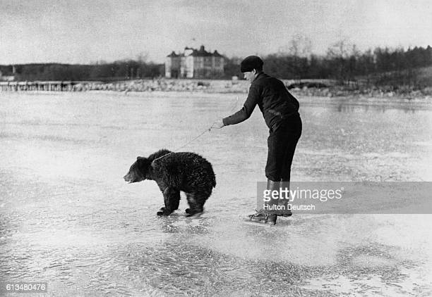 Russian skater being drawn by a bear on the frozen river