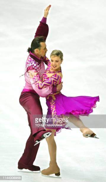 Russian skater Irina Lobacheva and her partner Ilia Averbukh perform during compulsory dance of ice dancing event in the NHK Trophy figure skating...