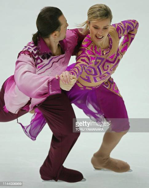 Russian skater Irina Lobacheva and her partner Ilia Averbukh perform during the compulsory dance event in the NHK Trophy figure skating competition...