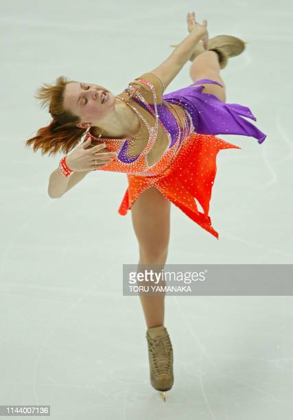 Russian skater Irina Slutskaya spins during the women's short program in the NHK Trophy figure skating competition in Kyoto, western Japan, 29...