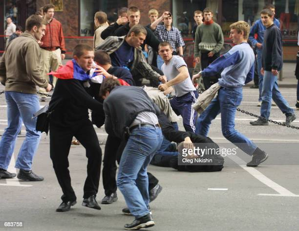 Russian soccer fans fight on June 9 2002 in Moscow Russia The fans rioted after learning that Russia lost to Japan 10 during 2002 Federation...