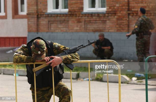 Russian soldier feels the strain of crisis during a siege around the school where some 350 hostages most of them women and children are being held by...