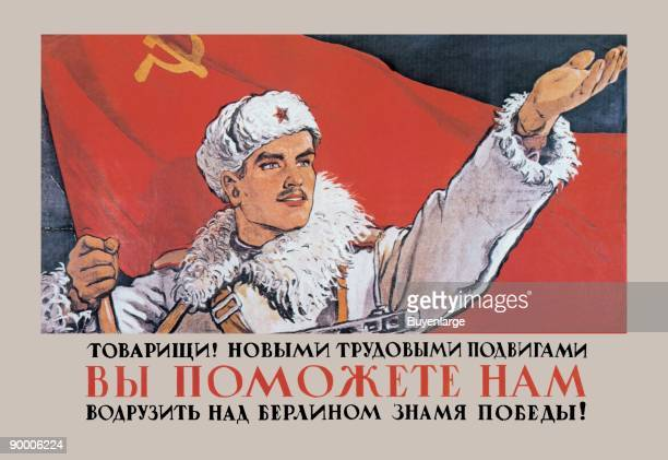 Russian Soldier raises arm and holds Red Flag