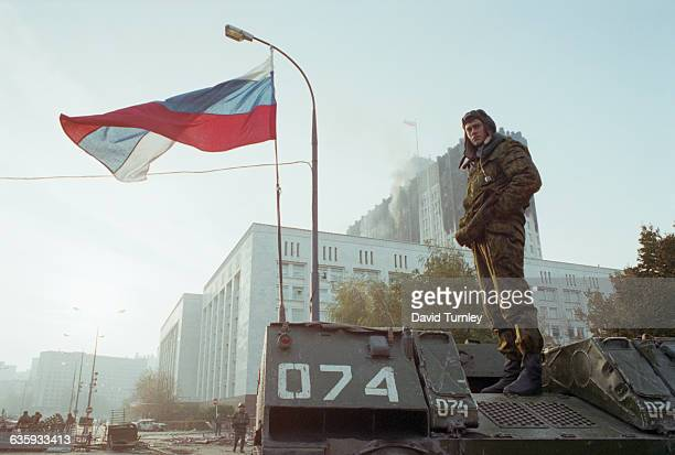 Russian Soldier Standing on His Vehicle
