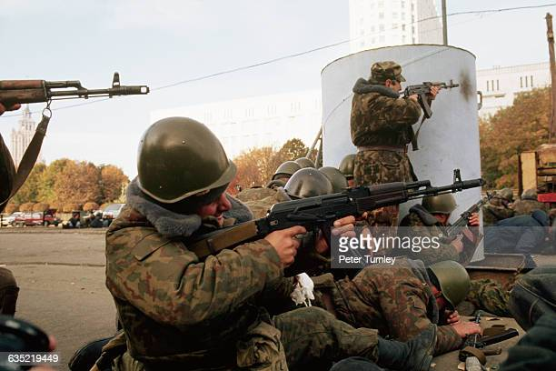 Russian soldiers aim their assault rifles during the violent conflict at the Russian White House on October 4 1993 Led by ousted vice president...