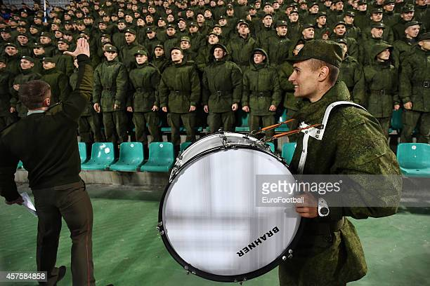 Russian soldiers and FC Krasnodar's fans during the UEFA Europe League Group H match between Krasnodar and Everton at the Kuban Stadium on October 2...