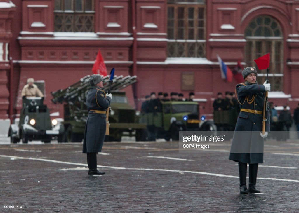 Russian soldiers dressed in WW2 uniform seen during the military
