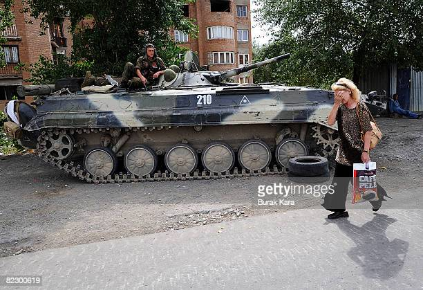 Russian soldiers hold their positions on the streets of Gori August 14 2008 in Gori near South Ossetia Georgia Tensions continued in the north...