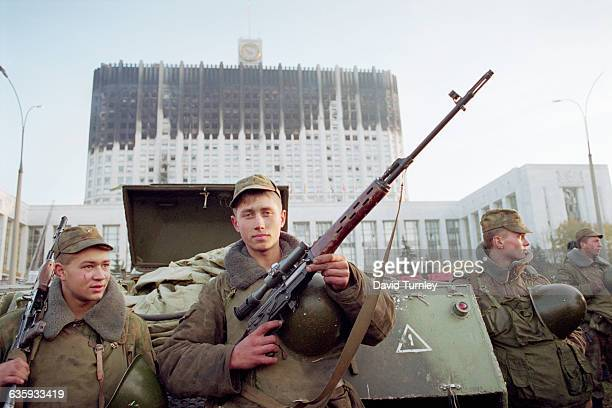 Russian Soldiers in Front of the Parliament Building