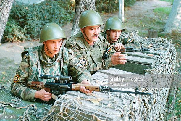 Russian soldiers man a checkpoint near a military hospital September 23 2001 in Dushanbe Tajikistan
