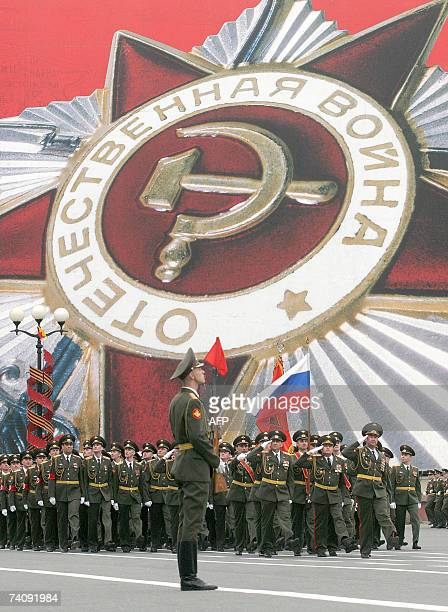 Russian soldiers march during a general rehearsal of the Victory Day parade in StPetersburg 07 May 2007 The Victory Day parade will be held in...