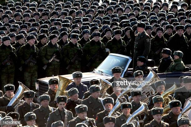 Russian soldiers march during a rehearsal for the May 9 Victory Day parade at Ababino military polygon on April 2012 near Moscow Russia A military...