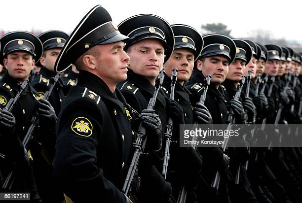 Russian soldiers march during a Victory Day parade rehearsal on April 24, 2009 in Alabino, outside Moscow, Russia. On May 9, 2009 Russia will mark...