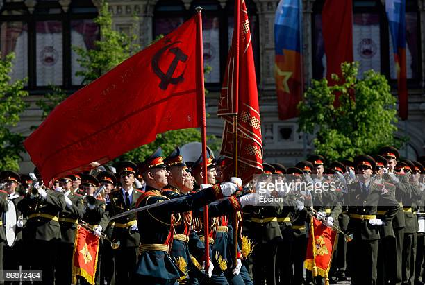 Russian soldiers march during the nation's Victory Day parade in commemoration of the end of WWII held at the Red Square on May 9 2009 in Moscow...