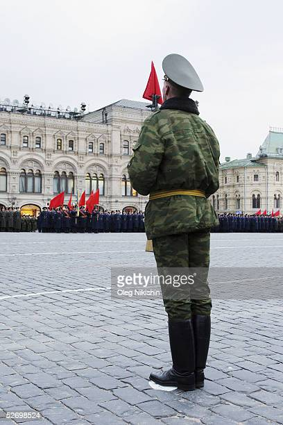 Russian soldiers march through Red Square as they rehearse for the traditional military parade to commemorate the end of the Second World War April...