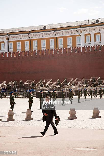 Russian soldiers on rehearsal of 9th May