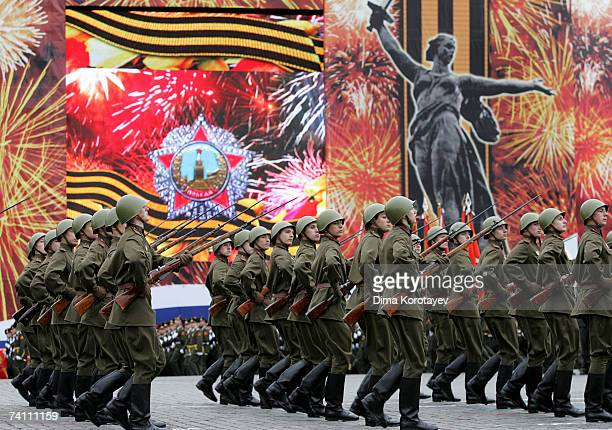 Russian soldiers parade in Red Square during the annual celebration of the end of World War II on May 9 2007 in Moscow Russia
