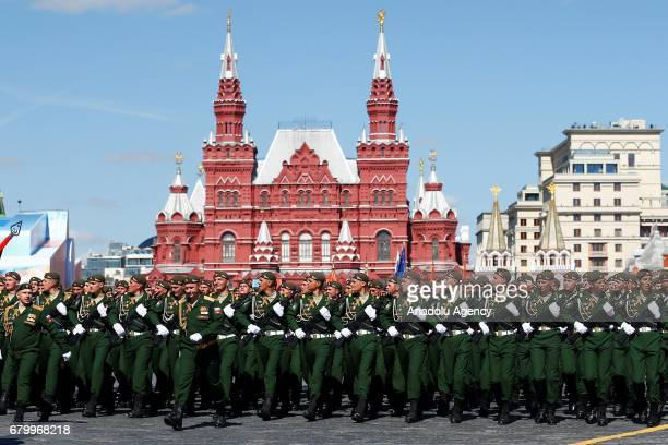 Russian soldiers participate in the rehearsal for a military parade at the Red Sqaure in Moscow Russia on May 7 2017 The Victory Day parade on 09 May...