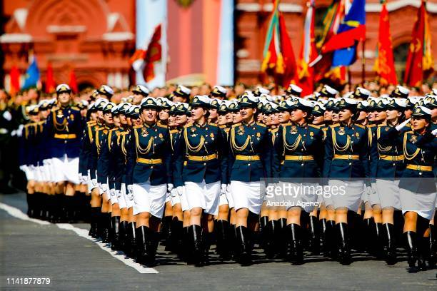 Russian soldiers participate in the rehearsal of the military parade ahead of the celebrations on May 9 to mark the 74th anniversary of the Soviet...